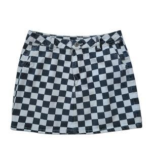 Bluenotes Checkered Jean Mini Skirt Black/White, M